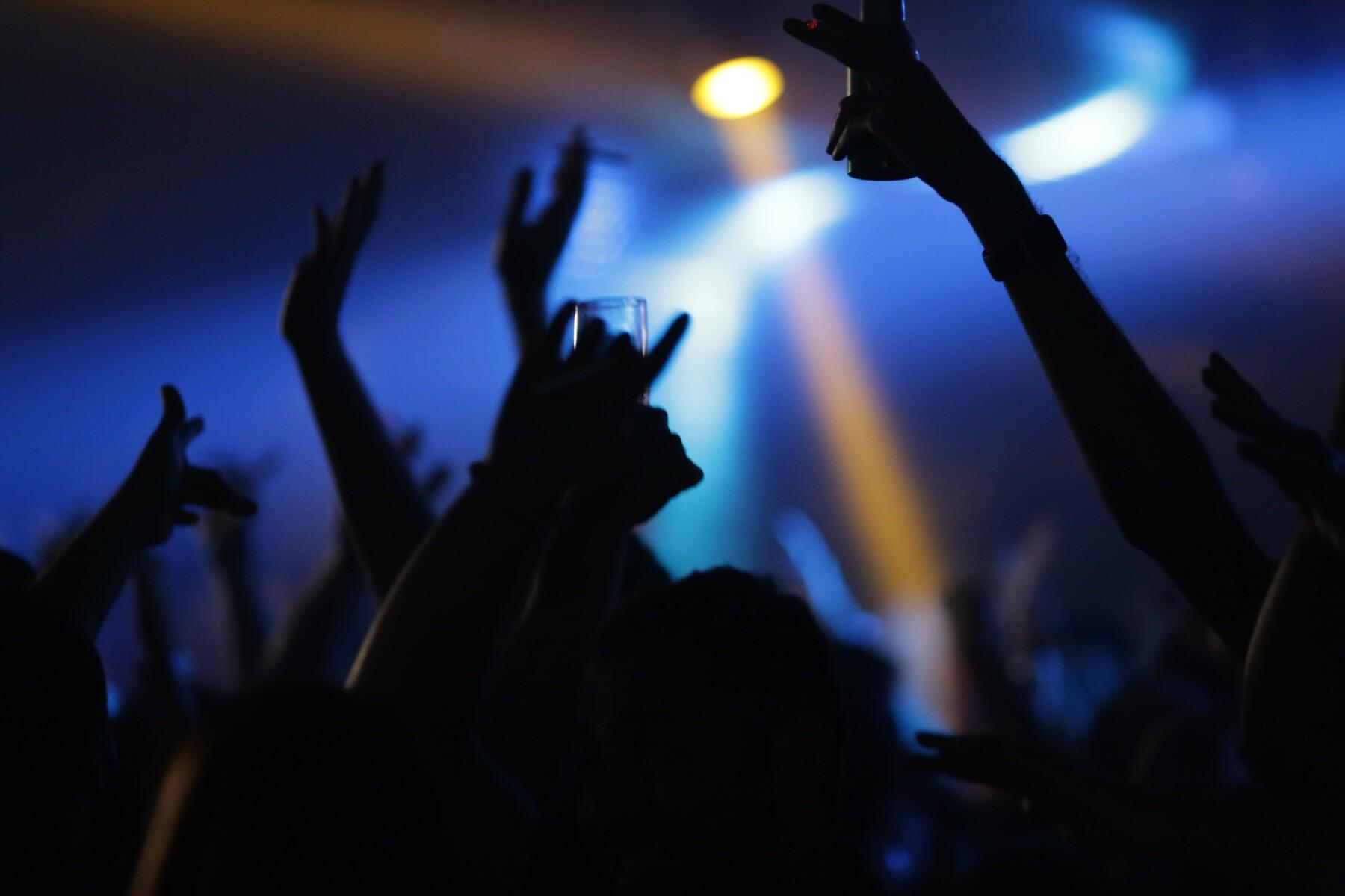Foto van feestende mensen bij DJ's